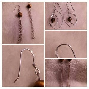 Sterling Silver Tiger's Eye Earrings